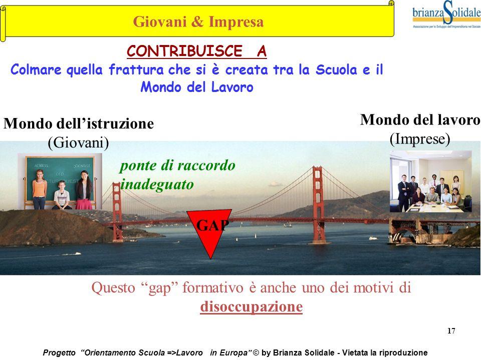 """17 Progetto """"Orientamento Scuola =>Lavoro in Europa"""" © by Brianza Solidale - Vietata la riproduzione CONTRIBUISCE A Colmare quella frattura che si è c"""