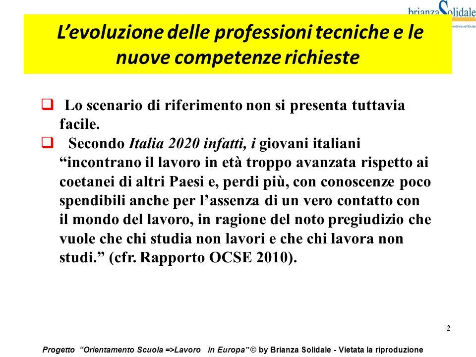"""2 Progetto """"Orientamento Scuola =>Lavoro in Europa"""" © by Brianza Solidale - Vietata la riproduzione L'evoluzione delle professioni tecniche e le nuove"""