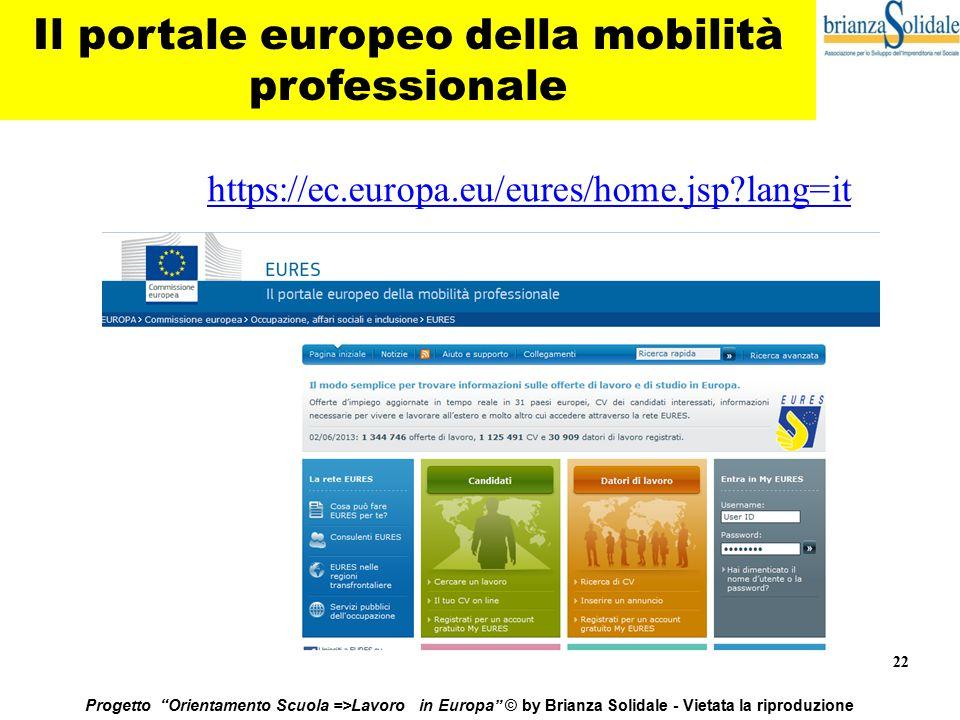 """22 Progetto """"Orientamento Scuola =>Lavoro in Europa"""" © by Brianza Solidale - Vietata la riproduzione Il portale europeo della mobilità professionale h"""