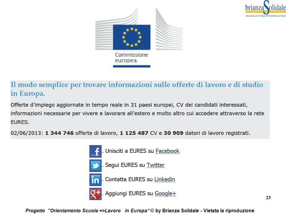"""23 Progetto """"Orientamento Scuola =>Lavoro in Europa"""" © by Brianza Solidale - Vietata la riproduzione"""