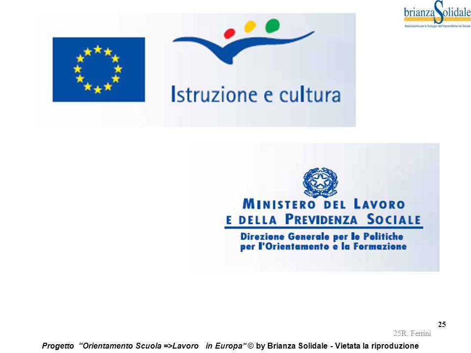 """25 Progetto """"Orientamento Scuola =>Lavoro in Europa"""" © by Brianza Solidale - Vietata la riproduzione 25R. Ferrini"""