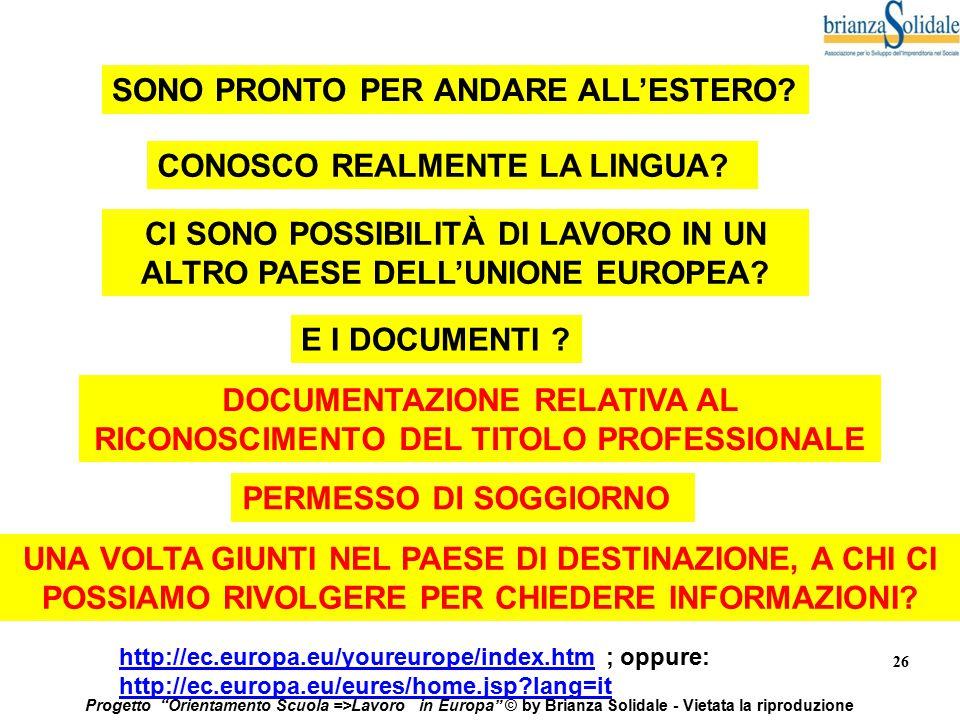"""26 Progetto """"Orientamento Scuola =>Lavoro in Europa"""" © by Brianza Solidale - Vietata la riproduzione SONO PRONTO PER ANDARE ALL'ESTERO? CONOSCO REALME"""