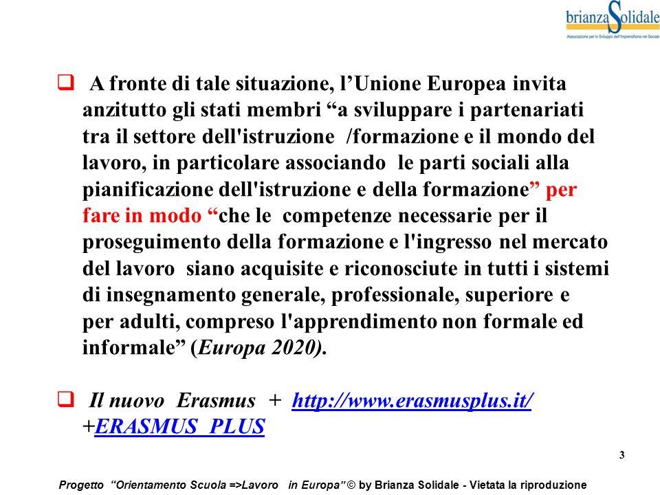 """3 Progetto """"Orientamento Scuola =>Lavoro in Europa"""" © by Brianza Solidale - Vietata la riproduzione  A fronte di tale situazione, l'Unione Europea in"""
