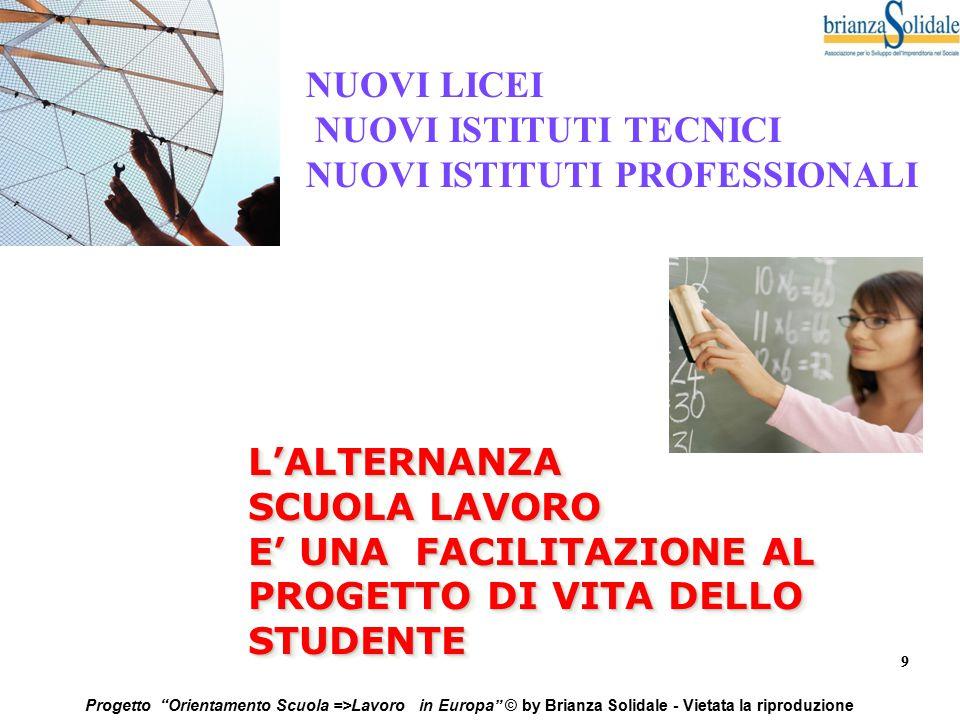 """9 Progetto """"Orientamento Scuola =>Lavoro in Europa"""" © by Brianza Solidale - Vietata la riproduzione L'ALTERNANZA SCUOLA LAVORO E' UNA FACILITAZIONE AL"""
