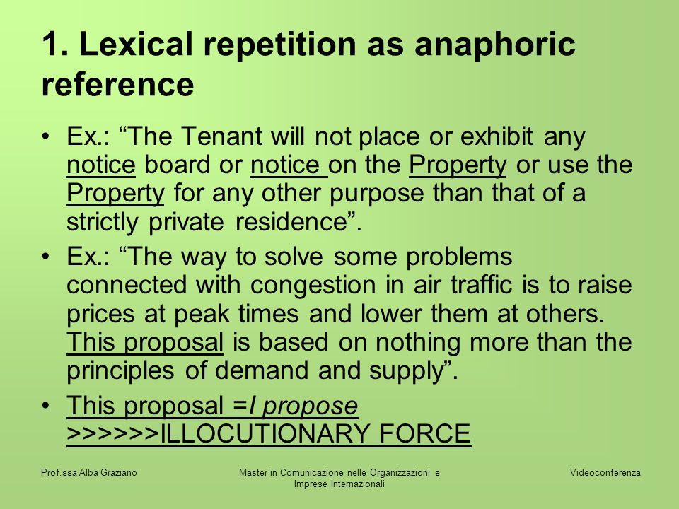 Videoconferenza Prof.ssa Alba GrazianoMaster in Comunicazione nelle Organizzazioni e Imprese Internazionali 1. Lexical repetition as anaphoric referen