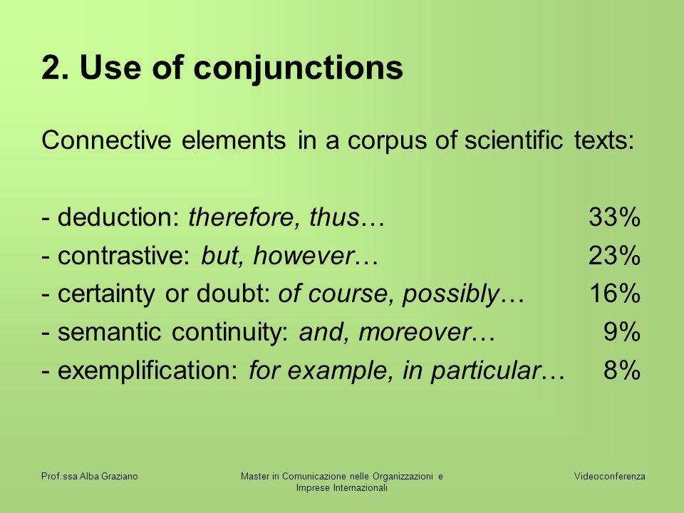Videoconferenza Prof.ssa Alba GrazianoMaster in Comunicazione nelle Organizzazioni e Imprese Internazionali 2. Use of conjunctions Connective elements