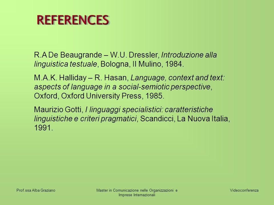 Videoconferenza Prof.ssa Alba GrazianoMaster in Comunicazione nelle Organizzazioni e Imprese Internazionali REFERENCESREFERENCES R.A De Beaugrande – W.U.