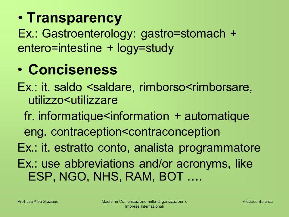 Videoconferenza Prof.ssa Alba GrazianoMaster in Comunicazione nelle Organizzazioni e Imprese Internazionali Transparency Ex.: Gastroenterology: gastro=stomach + entero=intestine + logy=study Conciseness Ex.: it.
