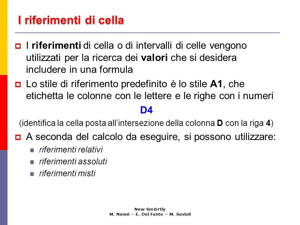 I riferimenti di cella New Sm@rtly M. Nanni – E. Del Fante – M. Savioli  I riferimenti di cella o di intervalli di celle vengono utilizzati per la ri