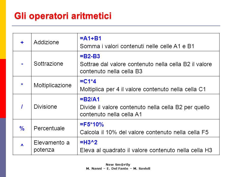 Ordine di priorità degli operatori aritmetici New Sm@rtly M.