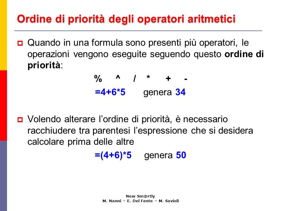 Ordine di priorità degli operatori aritmetici New Sm@rtly M. Nanni – E. Del Fante – M. Savioli  Quando in una formula sono presenti più operatori, le