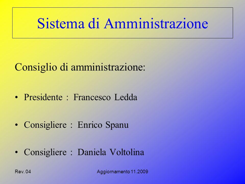 Rev. 04Aggiornamento 11.2009 Sistema di Amministrazione Consiglio di amministrazione: Presidente : Francesco Ledda Consigliere : Enrico Spanu Consigli