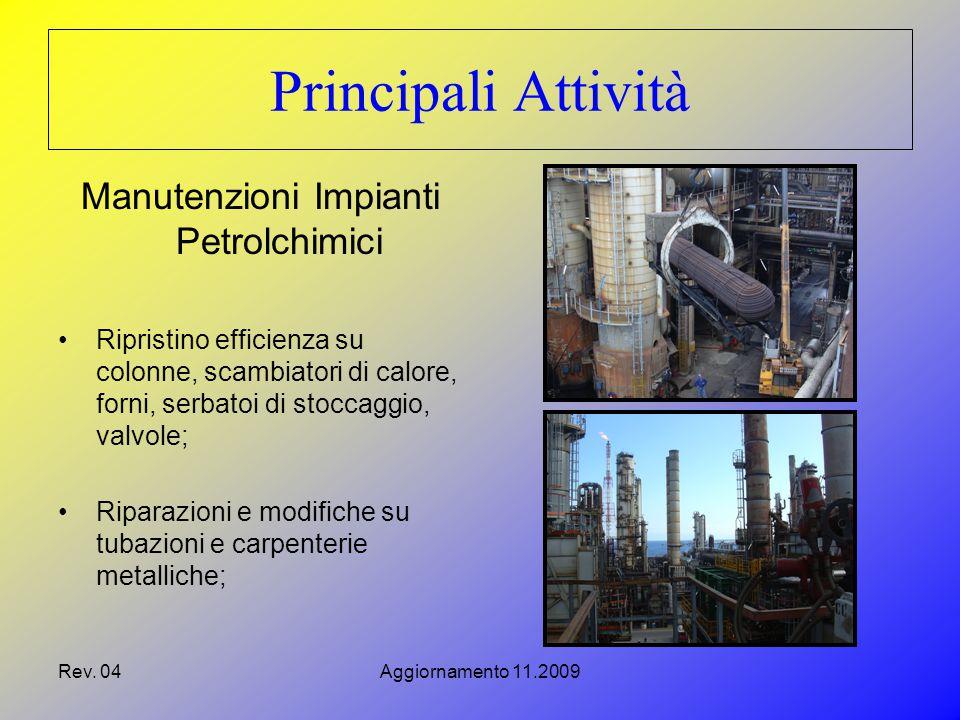 Rev. 04Aggiornamento 11.2009 Principali Attività Manutenzioni Impianti Petrolchimici Ripristino efficienza su colonne, scambiatori di calore, forni, s