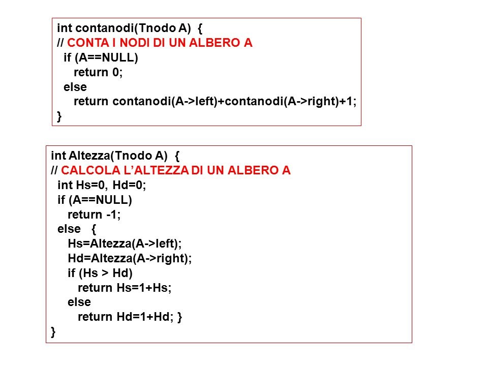 int contanodi(Tnodo A) { // CONTA I NODI DI UN ALBERO A if (A==NULL) return 0; else return contanodi(A->left)+contanodi(A->right)+1; } int Altezza(Tno