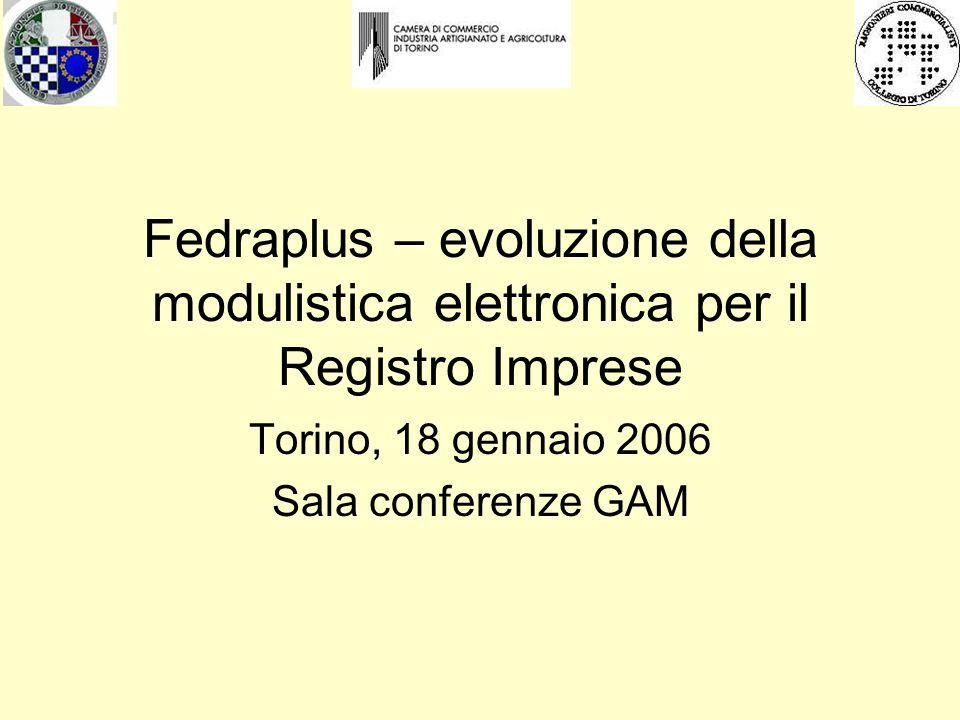 Fedraplus – evoluzione della modulistica elettronica per il Registro Imprese Torino, 18 gennaio 2006 Sala conferenze GAM