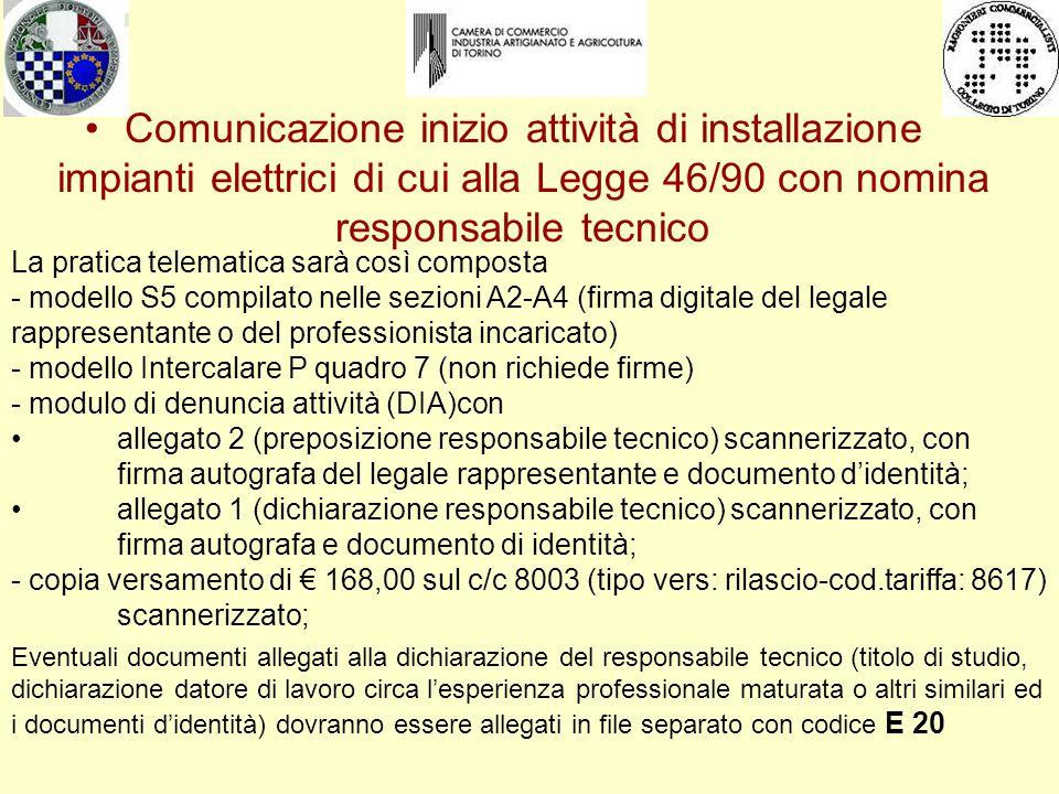 Comunicazione inizio attività di installazione impianti elettrici di cui alla Legge 46/90 con nomina responsabile tecnico La pratica telematica sarà c