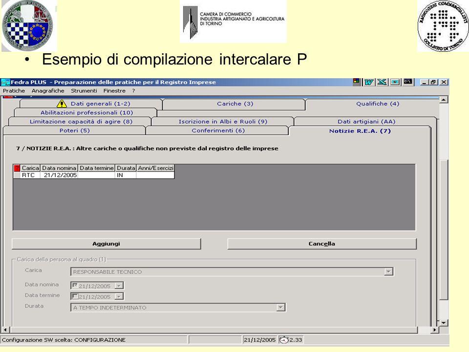 Esempio di compilazione intercalare P