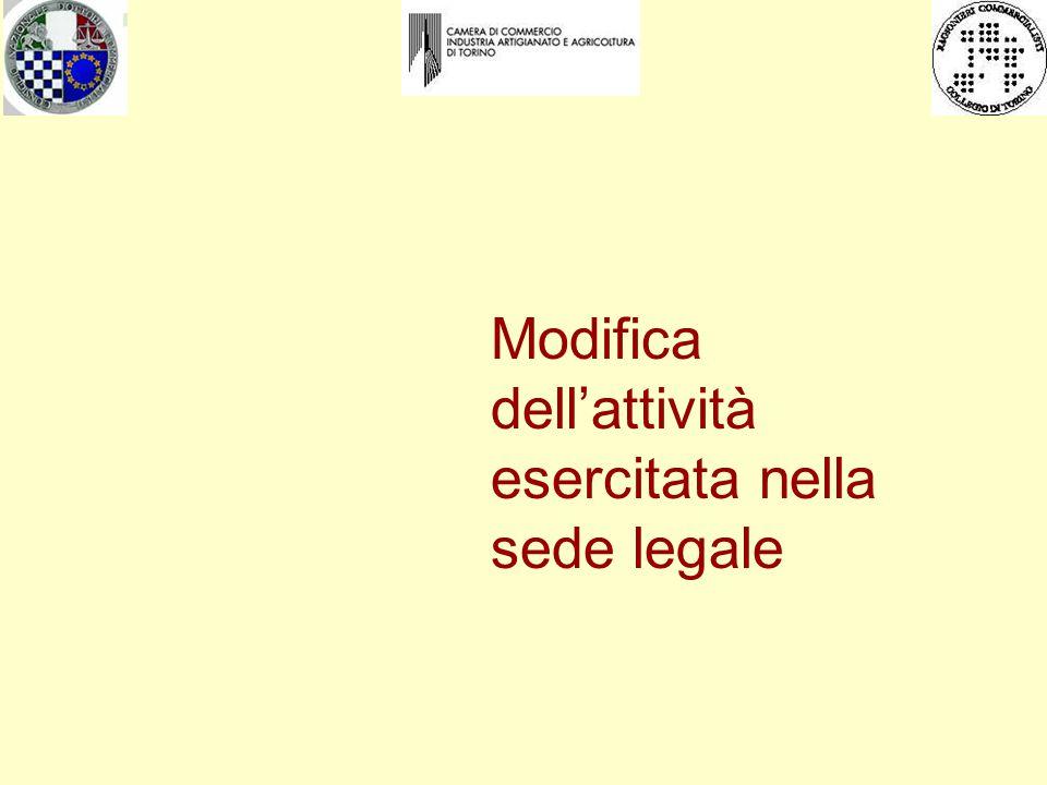 Modifica dell'attività esercitata nella sede legale