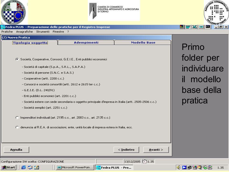 Primo folder per individuare il modello base della pratica