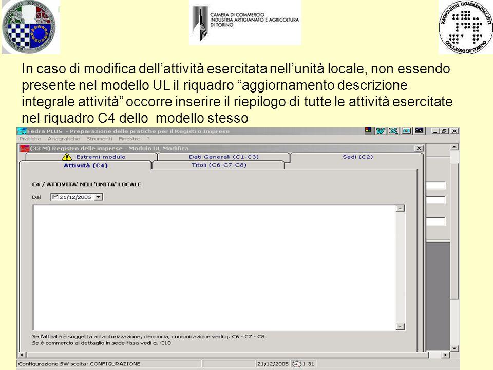 """In caso di modifica dell'attività esercitata nell'unità locale, non essendo presente nel modello UL il riquadro """"aggiornamento descrizione integrale a"""