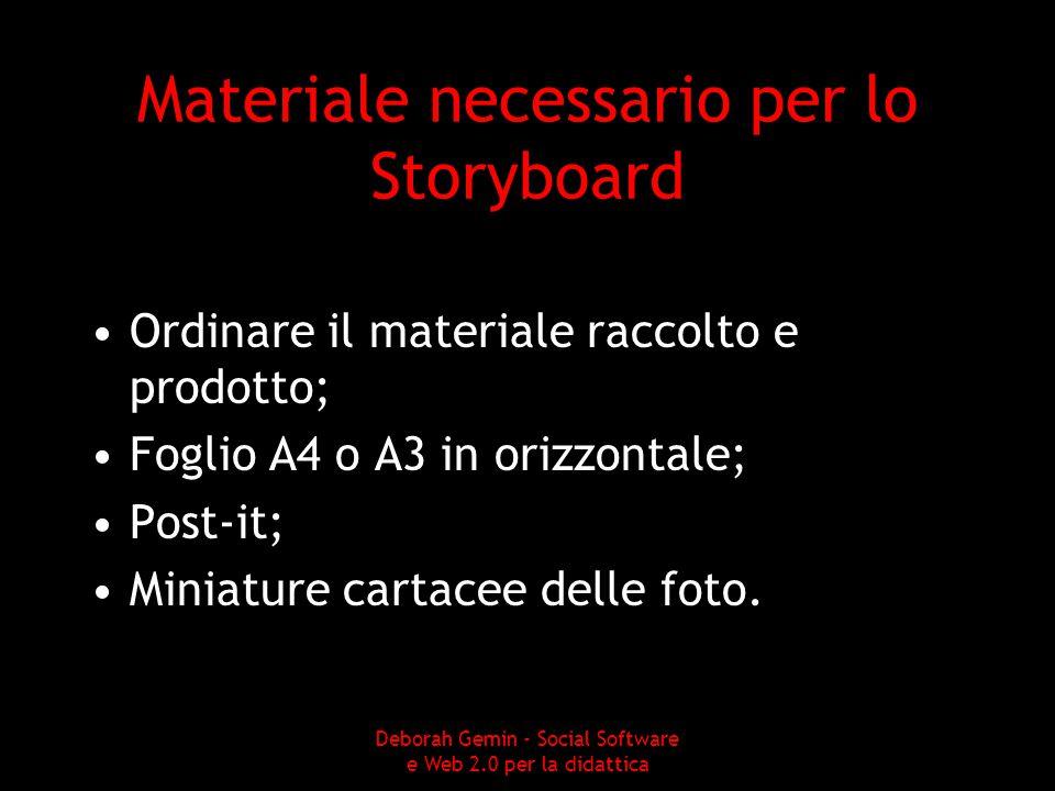 Materiale necessario per lo Storyboard Ordinare il materiale raccolto e prodotto; Foglio A4 o A3 in orizzontale; Post-it; Miniature cartacee delle foto.