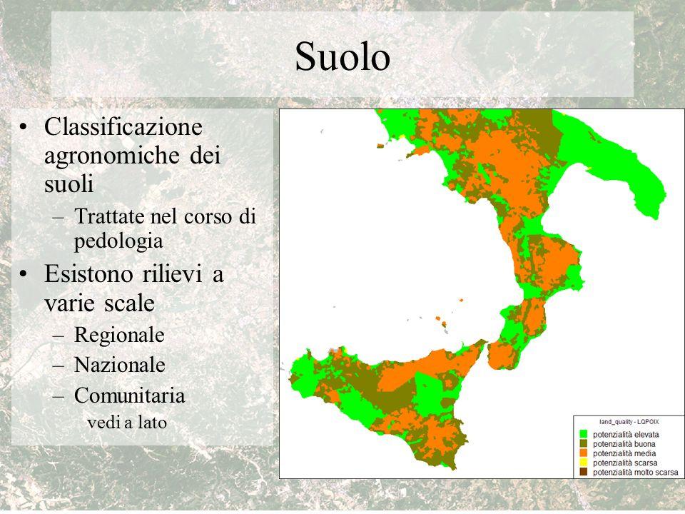 Suolo Classificazione agronomiche dei suoli –Trattate nel corso di pedologia Esistono rilievi a varie scale –Regionale –Nazionale –Comunitaria vedi a