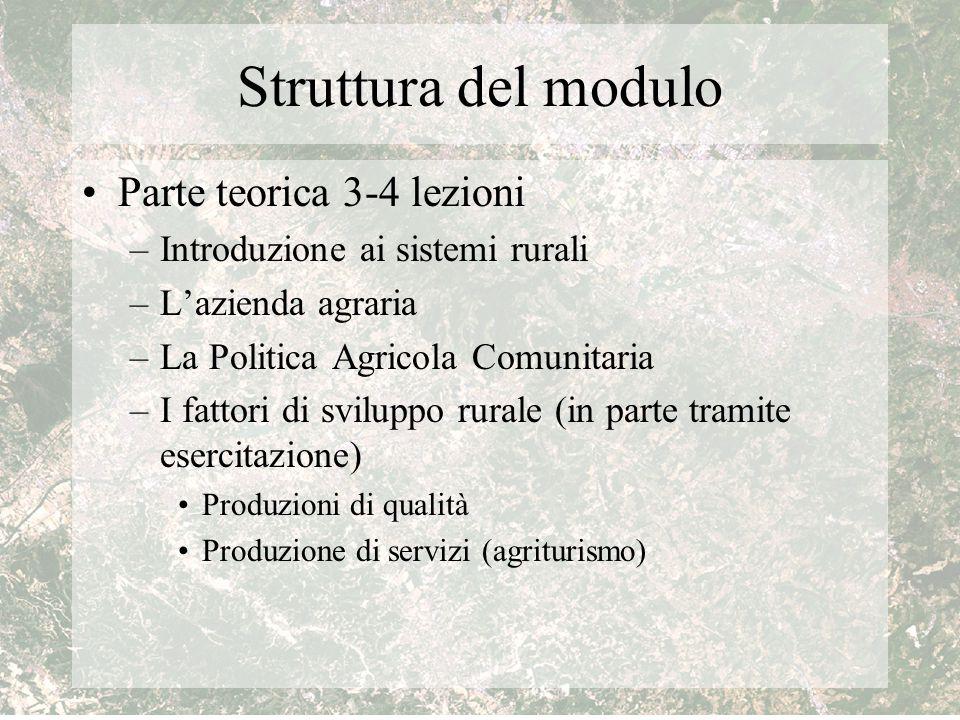 Struttura del modulo Parte teorica 3-4 lezioni –Introduzione ai sistemi rurali –L'azienda agraria –La Politica Agricola Comunitaria –I fattori di svil
