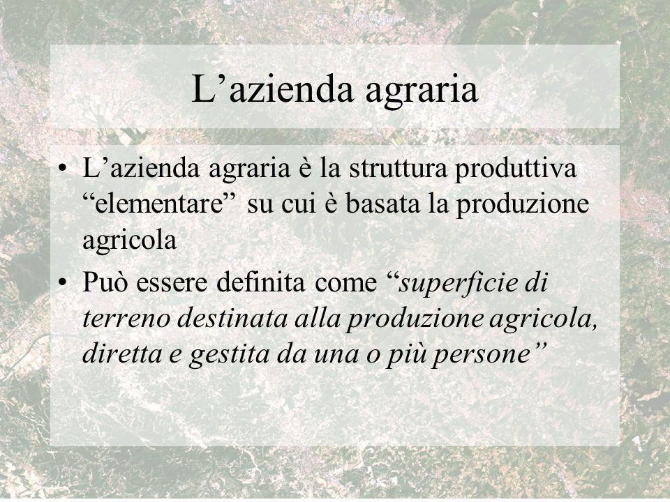 """L'azienda agraria L'azienda agraria è la struttura produttiva """"elementare"""" su cui è basata la produzione agricola Può essere definita come """"superficie"""