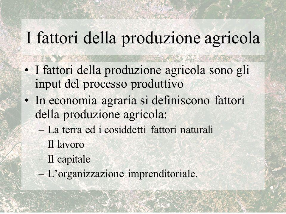 I fattori della produzione agricola I fattori della produzione agricola sono gli input del processo produttivo In economia agraria si definiscono fatt