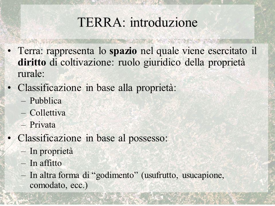 TERRA: introduzione Terra: rappresenta lo spazio nel quale viene esercitato il diritto di coltivazione: ruolo giuridico della proprietà rurale: Classi