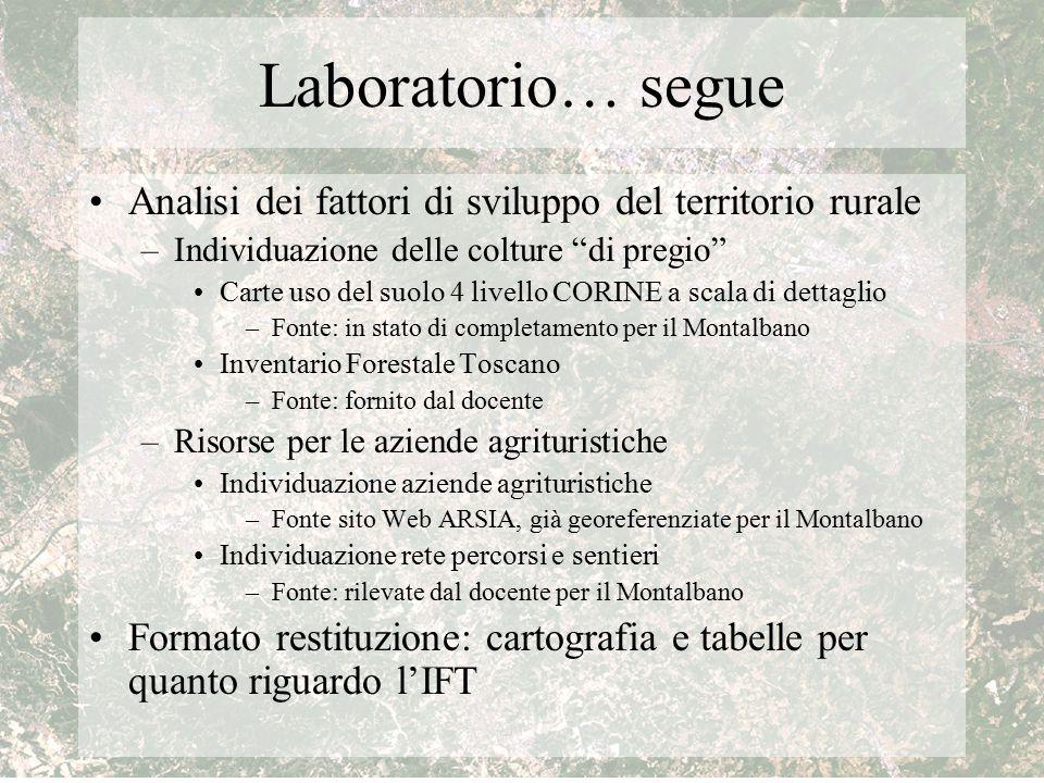"""Laboratorio… segue Analisi dei fattori di sviluppo del territorio rurale –Individuazione delle colture """"di pregio"""" Carte uso del suolo 4 livello CORIN"""