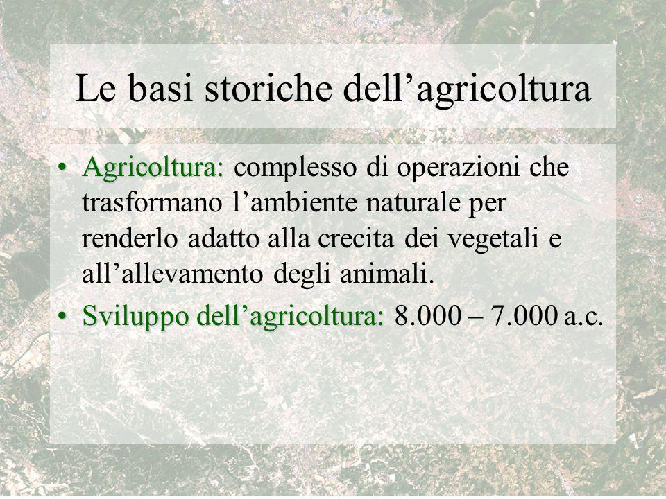 Le basi storiche dell'agricoltura Agricoltura:Agricoltura: complesso di operazioni che trasformano l'ambiente naturale per renderlo adatto alla crecit