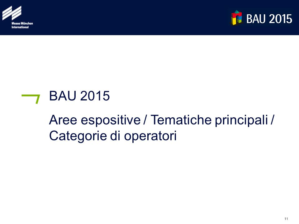 11 BAU 2015 Aree espositive / Tematiche principali / Categorie di operatori