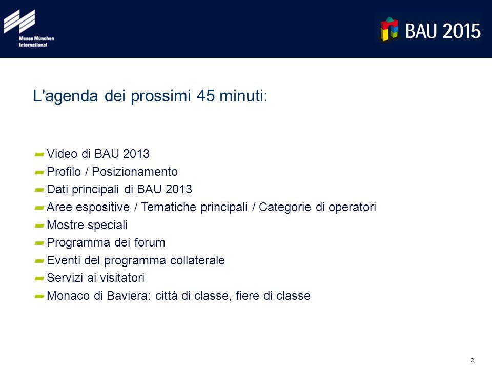 2 L'agenda dei prossimi 45 minuti: Video di BAU 2013 Profilo / Posizionamento Dati principali di BAU 2013 Aree espositive / Tematiche principali / Cat
