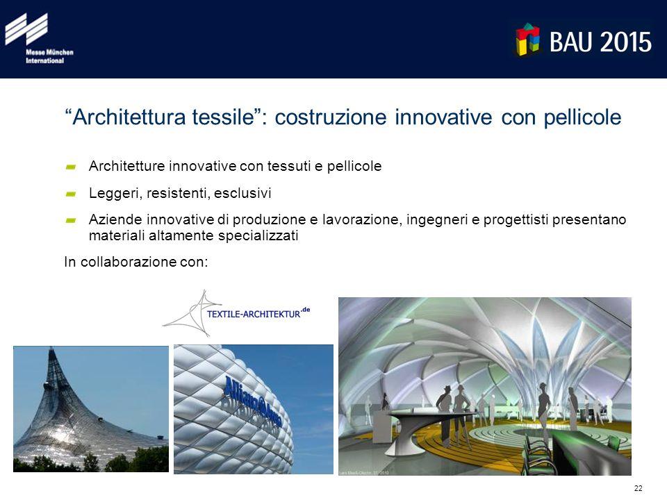"""22 """"Architettura tessile"""": costruzione innovative con pellicole Architetture innovative con tessuti e pellicole Leggeri, resistenti, esclusivi Aziende"""