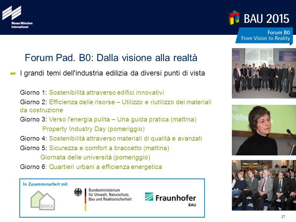 27 Forum Pad. B0: Dalla visione alla realtà I grandi temi dell'industria edilizia da diversi punti di vista Giorno 1: Sostenibilità attraverso edifici