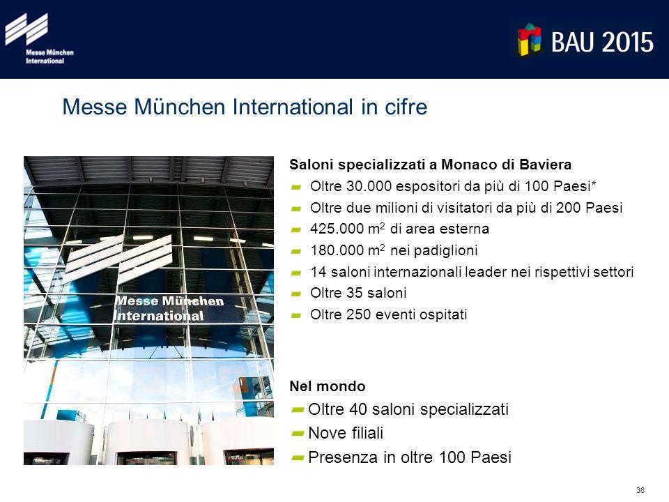 36 Messe München International in cifre Saloni specializzati a Monaco di Baviera Oltre 30.000 espositori da più di 100 Paesi* Oltre due milioni di vis