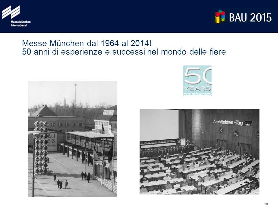 38 Messe München dal 1964 al 2014! 50 anni di esperienze e successi nel mondo delle fiere