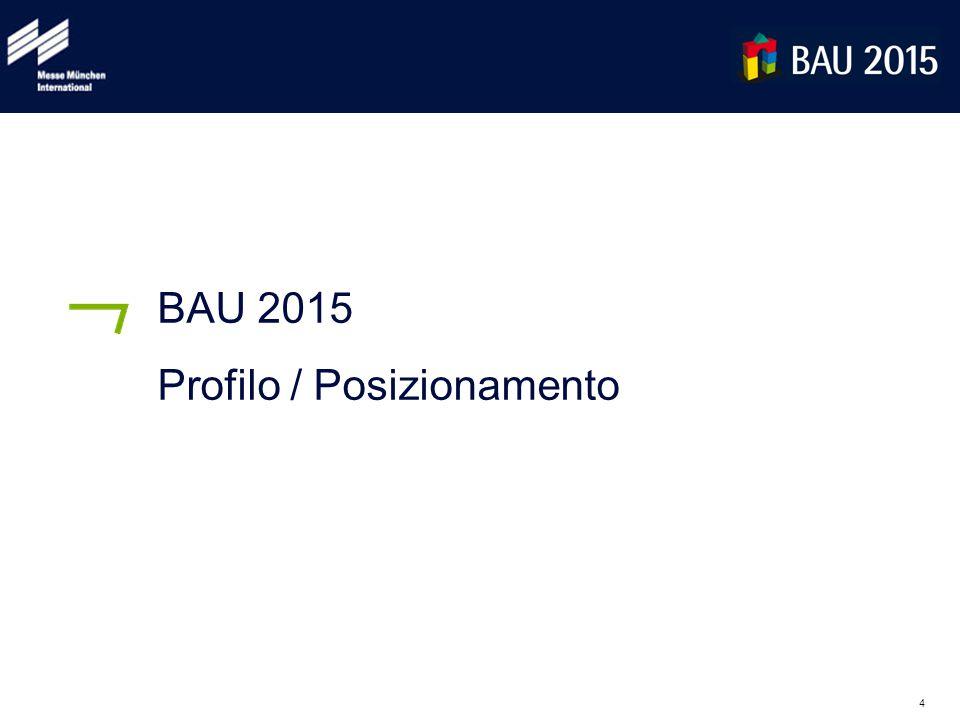 5 5 Profilo di BAU 2015 Salone Internazionale di Architettura, Materiali e Sistemi Date: 19-24 gennaio 2015 Orari: lunedì-venerdì: 9.30-18.00, sabato: 9.30-17.00 ca.