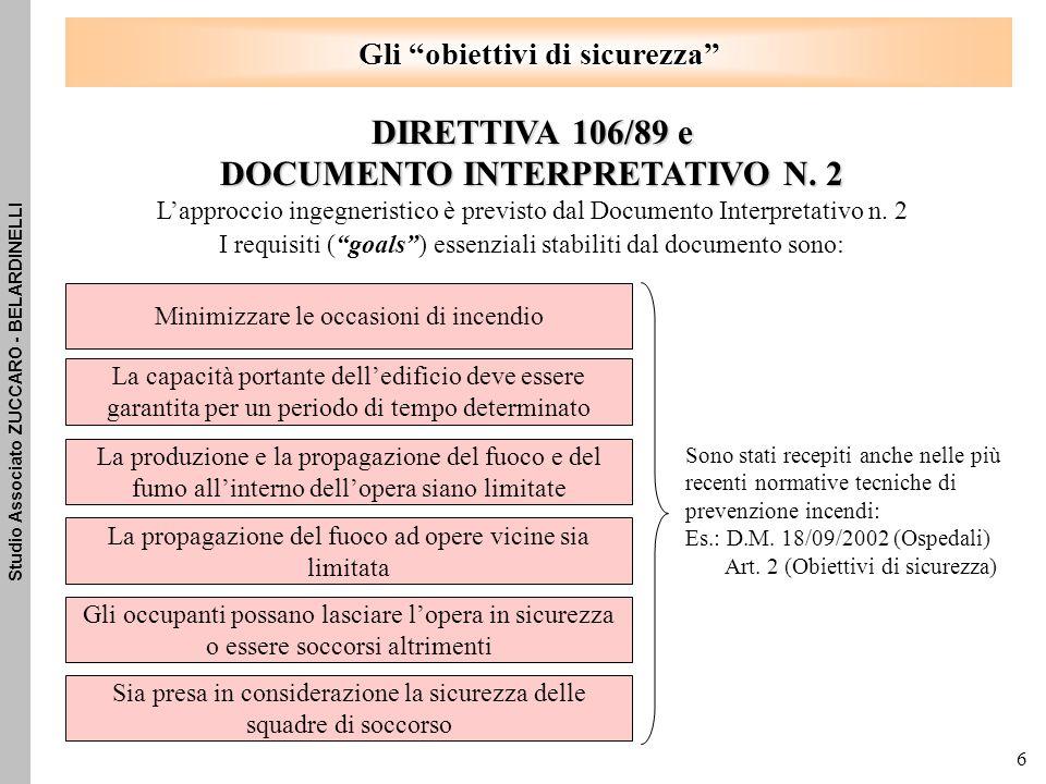 Studio Associato ZUCCARO - BELARDINELLI 6 Gli obiettivi di sicurezza DIRETTIVA 106/89 e DOCUMENTO INTERPRETATIVO N.