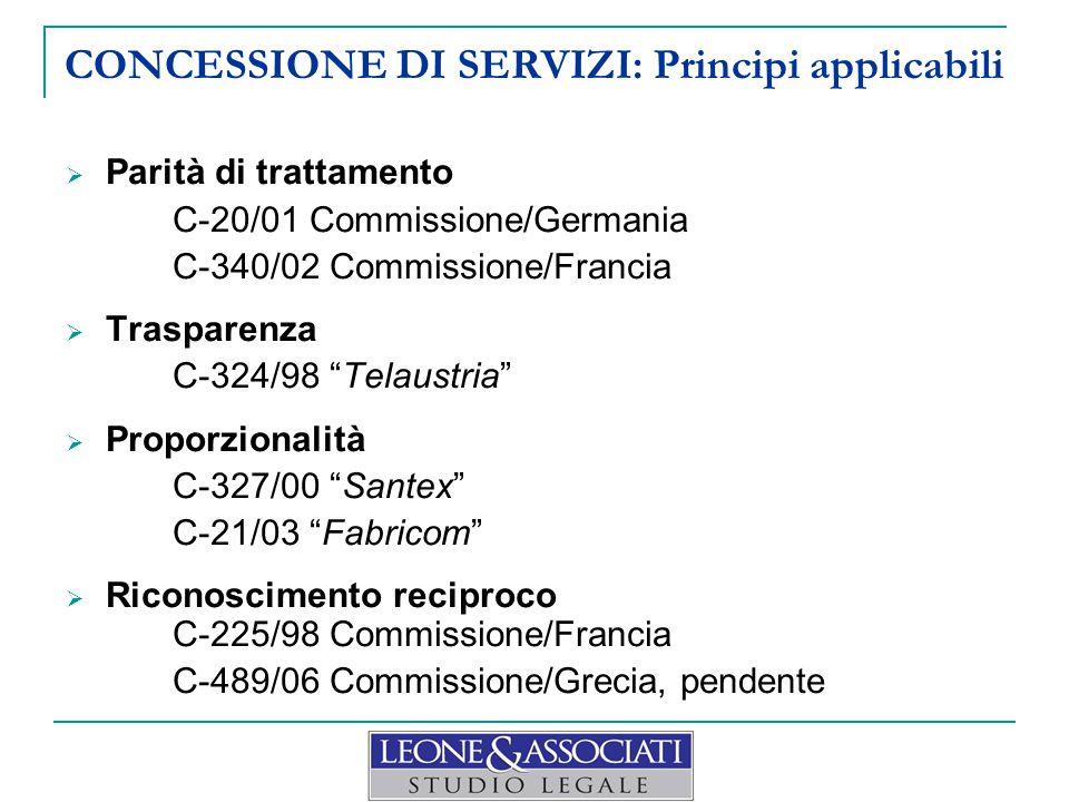 CONCESSIONE DI SERVIZI: Principi applicabili  Parità di trattamento C-20/01 Commissione/Germania C-340/02 Commissione/Francia  Trasparenza C-324/98
