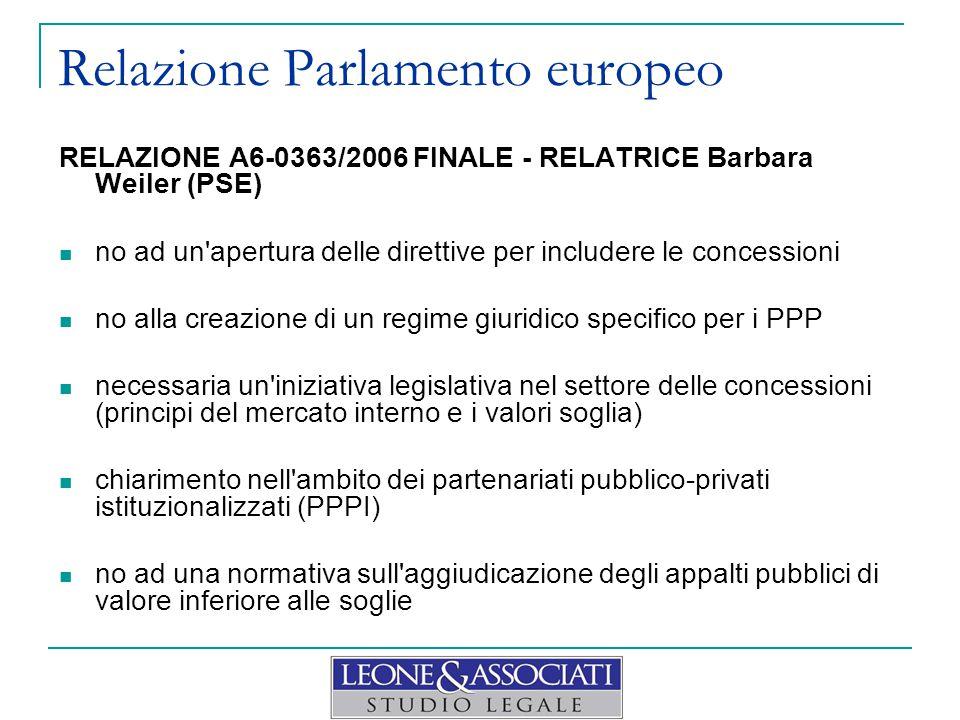 Relazione Parlamento europeo RELAZIONE A6-0363/2006 FINALE - RELATRICE Barbara Weiler (PSE) no ad un'apertura delle direttive per includere le concess