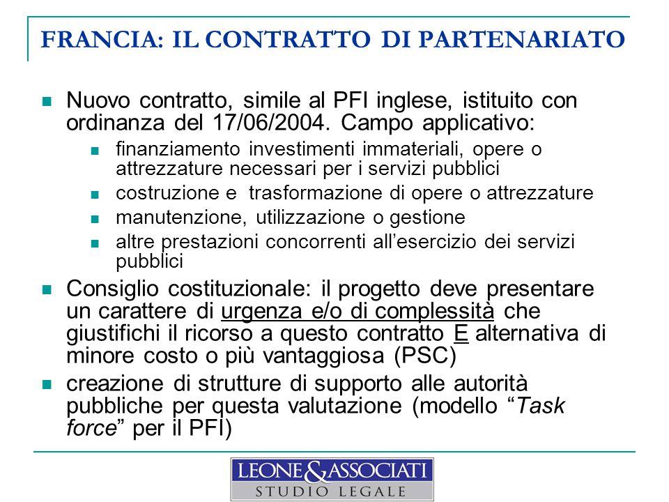 FRANCIA: IL CONTRATTO DI PARTENARIATO Nuovo contratto, simile al PFI inglese, istituito con ordinanza del 17/06/2004.