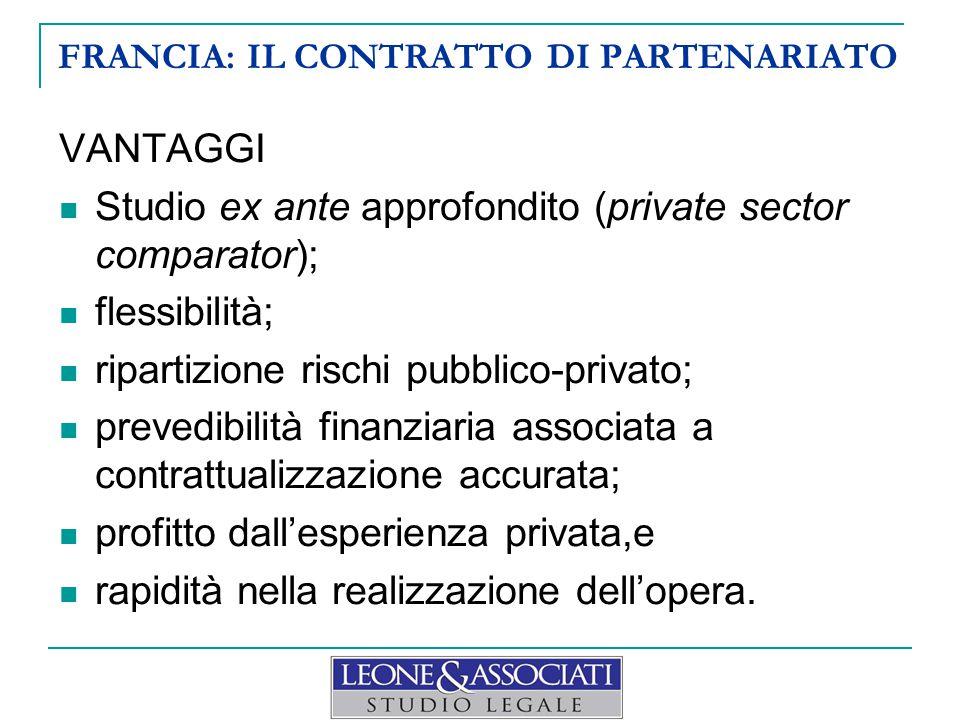 FRANCIA: IL CONTRATTO DI PARTENARIATO VANTAGGI Studio ex ante approfondito (private sector comparator); flessibilità; ripartizione rischi pubblico-pri