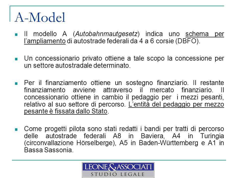A-Model Il modello A (Autobahnmautgesetz) indica uno schema per l'ampliamento di autostrade federali da 4 a 6 corsie (DBFO).