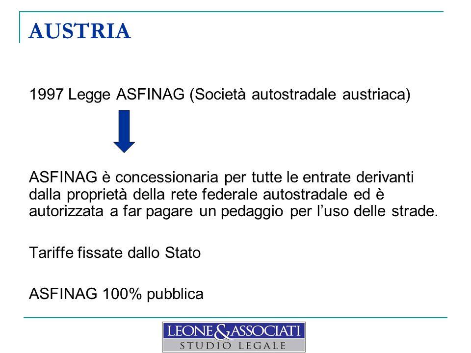 AUSTRIA 1997 Legge ASFINAG (Società autostradale austriaca) ASFINAG è concessionaria per tutte le entrate derivanti dalla proprietà della rete federale autostradale ed è autorizzata a far pagare un pedaggio per l'uso delle strade.