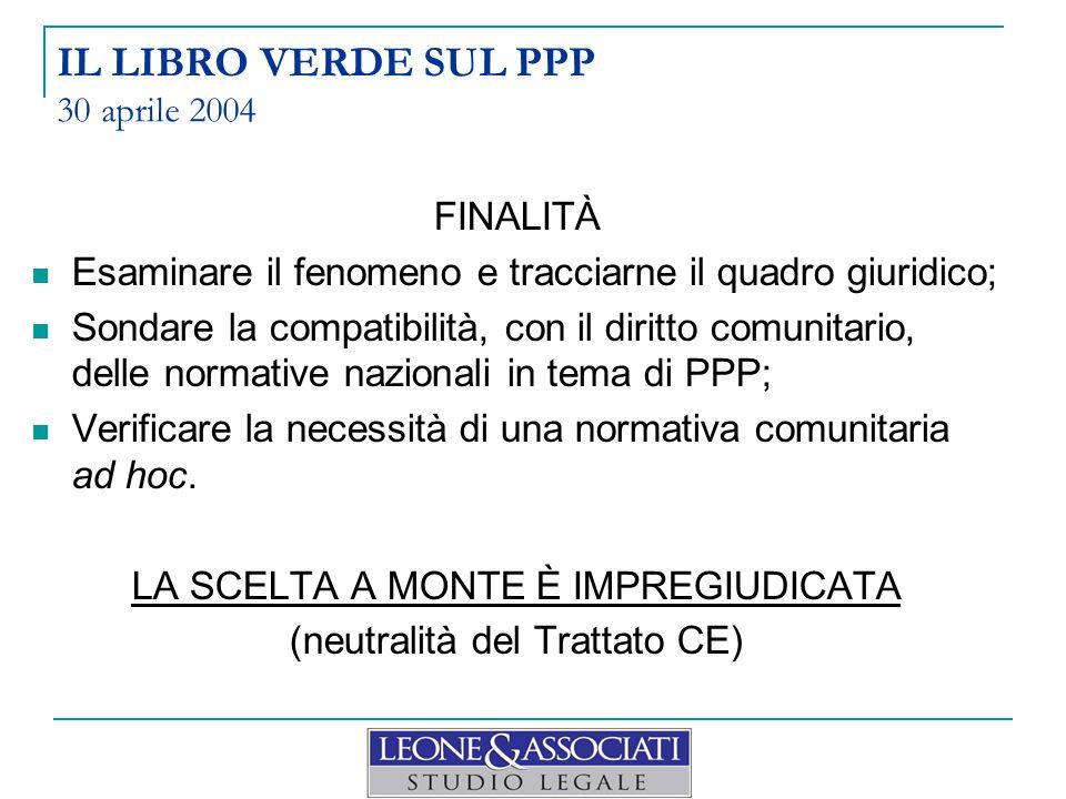 DOPO IL LIBRO BIANCO : Rapporto in materia di PPP (First draft report-November 2006 MARKT/2005/09/C) Valutazione sull'impatto dell'introduzione di norme comunitarie in materia di PPP: 1.