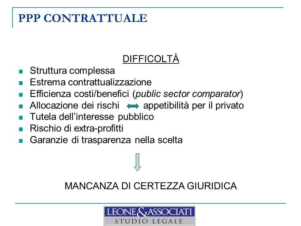 PPP CONTRATTUALE DIFFICOLTÀ Struttura complessa Estrema contrattualizzazione Efficienza costi/benefici (public sector comparator) Allocazione dei risc