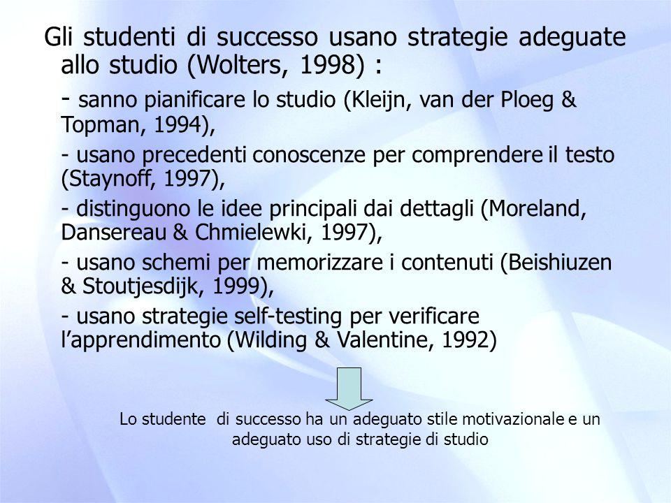 Auto-regolazione: l'abilità di controllare e monitorare il proprio processo di apprendimento  modifica e/o adatta le strategie e i comportamenti di studio sulla base di feed back cognitivi-emotivi- motivazionali (Hofer, Yu & Pintrich, 1998; Wolters, 1998; Zimmerman, 2000; De Beni, Moè & Cornoldi, 2003) -Autoregolazione è un fattore di mediazione tra aspetti motivazionali e di prestazione -(Cornoldi, De Beni & Fioritto, 2003; Moè, Cornoldi, De Beni and Veronese; 2004)