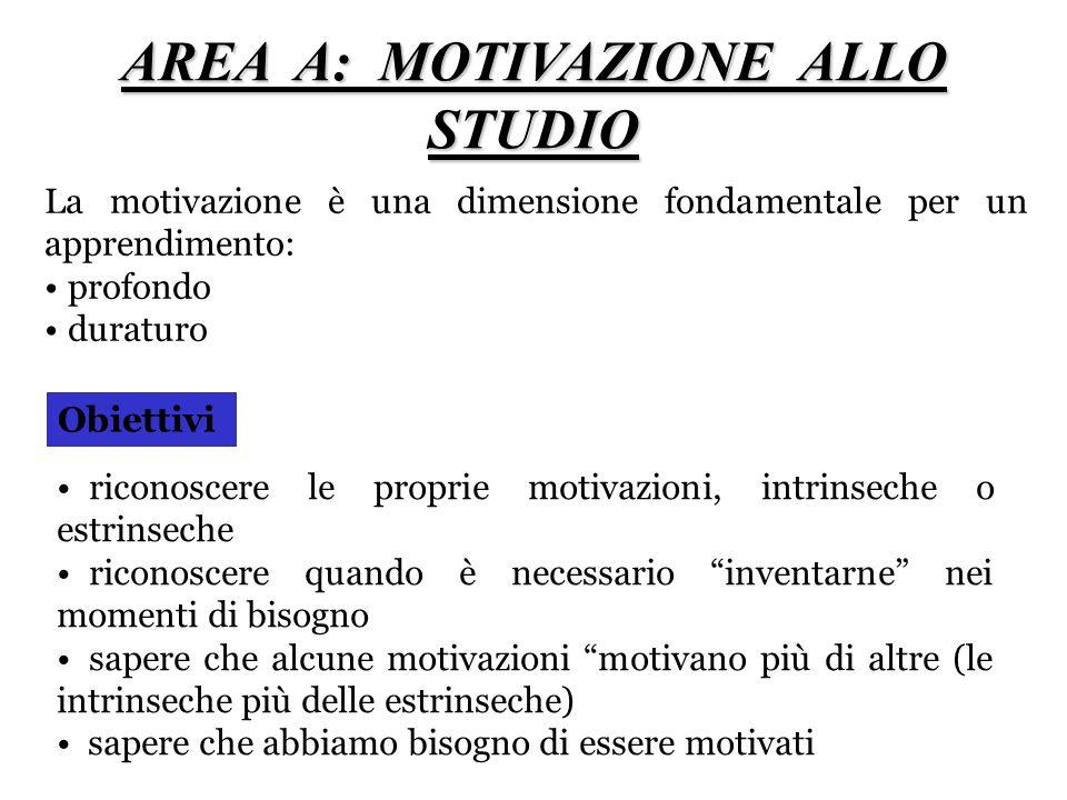 AREA A: MOTIVAZIONE ALLO STUDIO